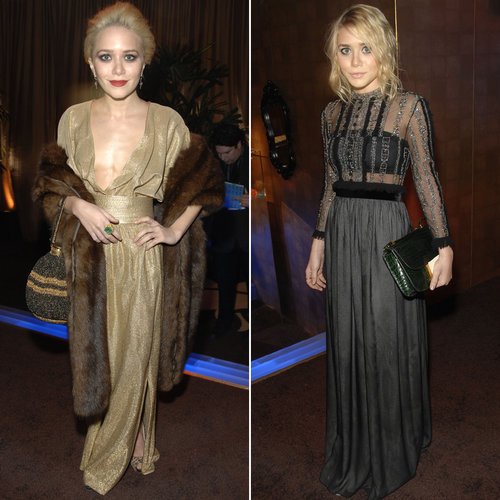 Twinning combo: At the 2007 In Style and Warner Bros. Golden Globes afterparty, the blond beauties shined bright in metallic gowns.  Mary-Kate styled a plunging gold shimmer gown with a plush fur wrap and leopard peep-toe pumps. Ashley suited up in a sheer embellished gown-and-emerald crocodile clutch.