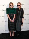Twinning combo: So bright, they've gotta wear shades. Ashley and Mary-Kate accessorized their March 2011 Metropolitan Opera looks with matching oversize round sunglasses. Ashley kept cozy in an emerald-green fur stole over her jacquard sheath dress. Mary-Kate topped her sheer, polka-dot maxi dress with a metallic shawl-collar coat.