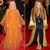 Twinning combo: For the 2013 Met Gala, the style-setters upped the drama with vintage selections. Ashley chose a beaded orange creation with gauzy overlay from Dior Couture. Mary-Kate topped her beaded drop-waist Chanel dress with an embroidered, fur-trimmed robe.