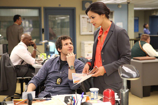 Andy Samberg and Melissa Fumero in Brooklyn Nine-Nine.