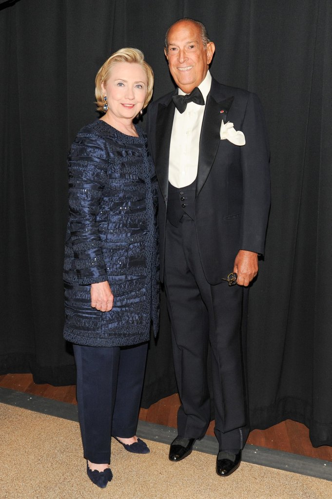 Hillary Clinton met up with Oscar de la Renta. Source: Billy Farrell/BFANYC.com