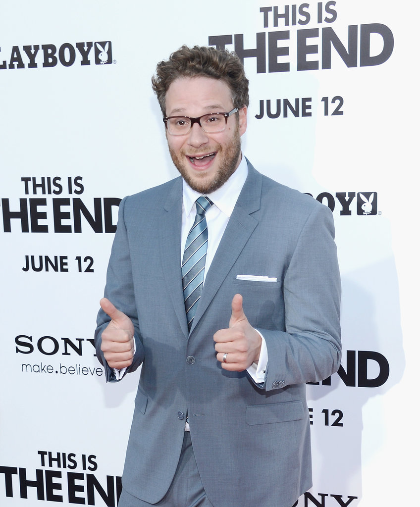 Seth Rogen gave the thumbs-up at his This Is the End premiere in LA.