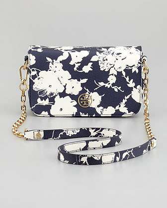 Tory Burch Robinson Floral-Print Mini Crossbody Bag, Navy