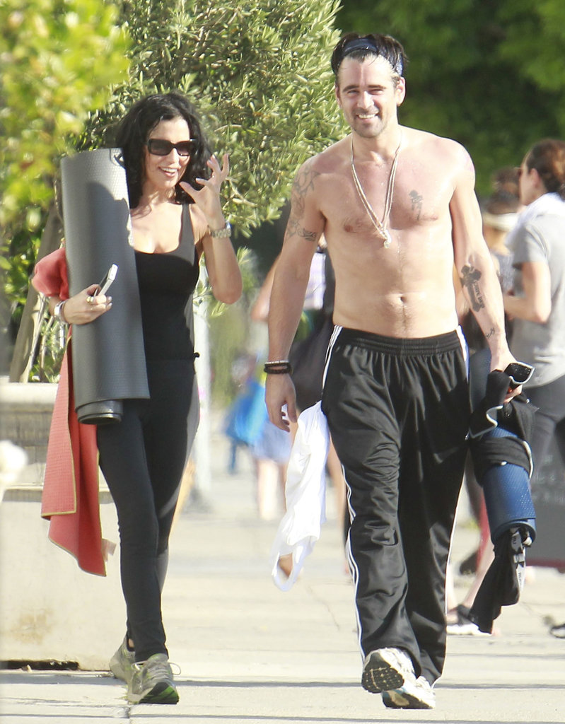 Colin Farrell carried his yoga mat as he left a class.