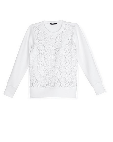 Give the cardigan a break and fight overly air-conditioned rooms in Tibi's white lace sweatshirt ($130, originally $425).