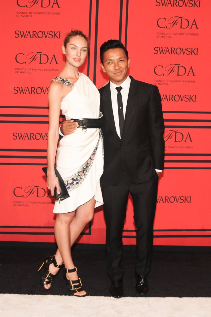 Candice Swanepoel with Prabal Gurung. Source: Joe Schildhorn/BFAnyc.com