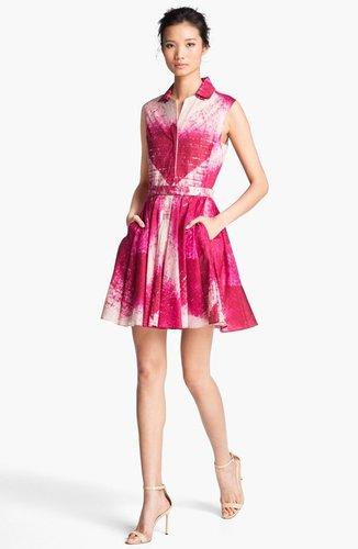 Halston Heritage Cotton Fit & Flare Dress