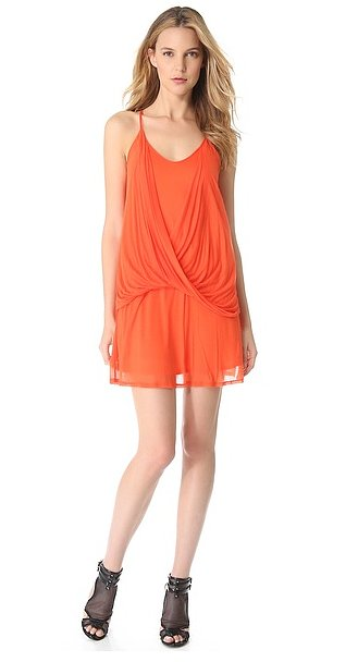 The gorgeous orange hue on this Helmut Lang dress ($310) is just too good to pass up. We dig the fabulous draping, too.