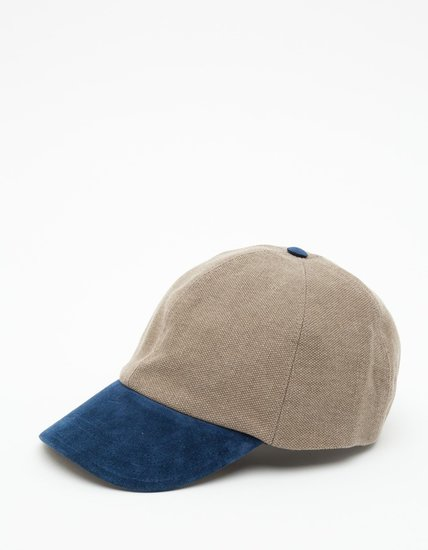 Some guys are just baseball cap wears for life. Upgrade his old team favorite with a stylish suede and linen version ($80).