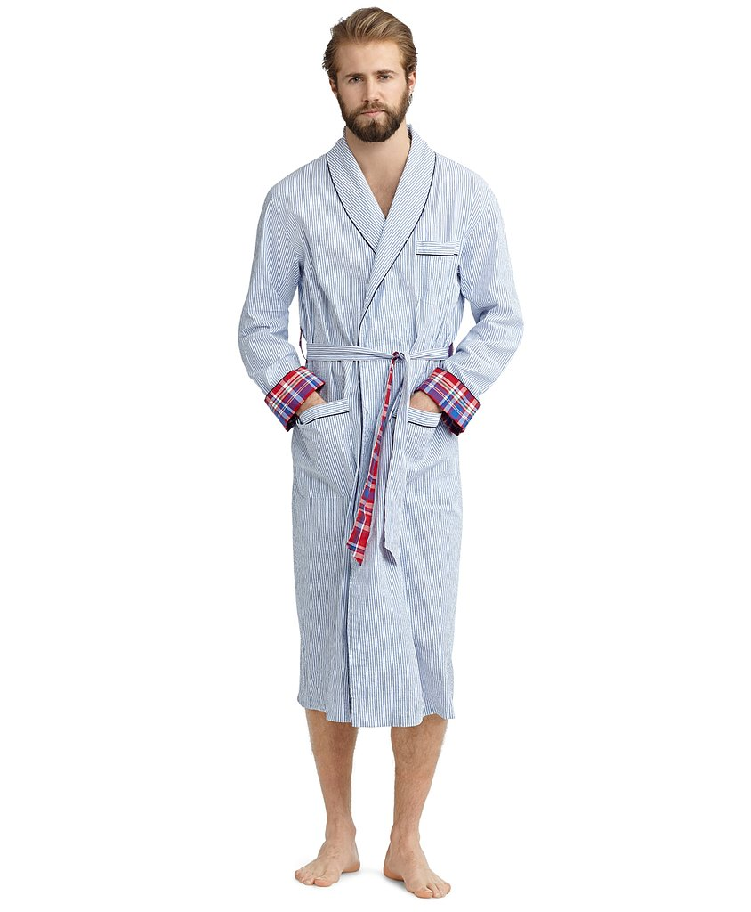Encourage your hard-working man to lounge around a bit in Brooks Brothers' seersucker, plaid-accented robe ($118).