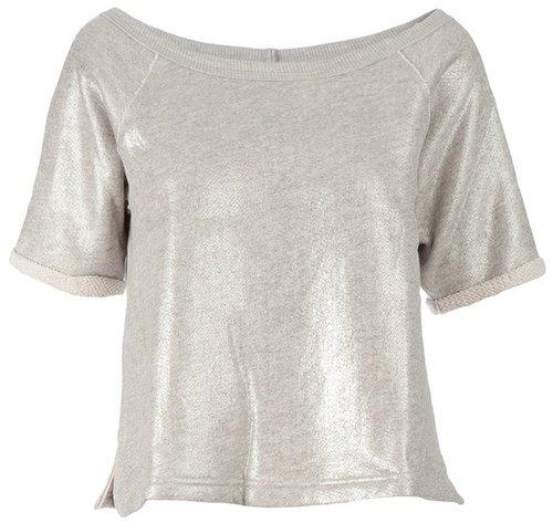Enza Costa Metallic cropped t-shirt