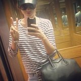 Miranda Kerr stopped for a quick photo in an elevator in March.  Source: Instagram user mirandakerr
