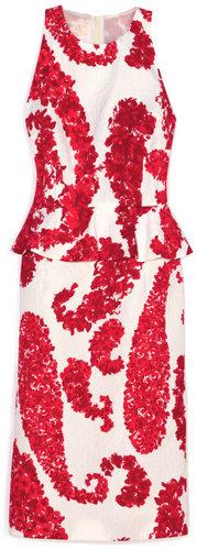 Giambattista Valli Red & White Peplum Dress