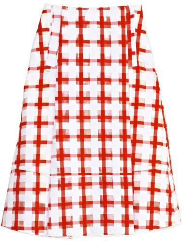 Marni Red Checkered Skirt