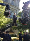 Michael Fassbender stood on a raised platform as Magneto. Source: Twitter user BryanSinger