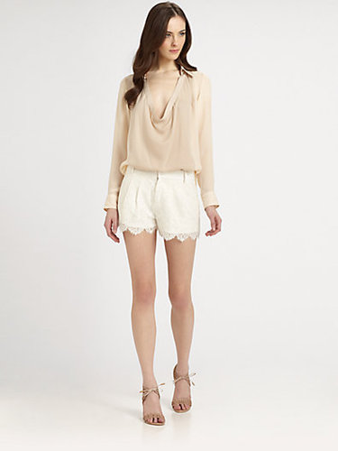 Haute Hippie Scalloped Lace Shorts