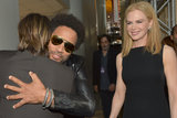 Nicole Kidman smiled as Lenny Kravitz and Keith Urban hugged backstage.