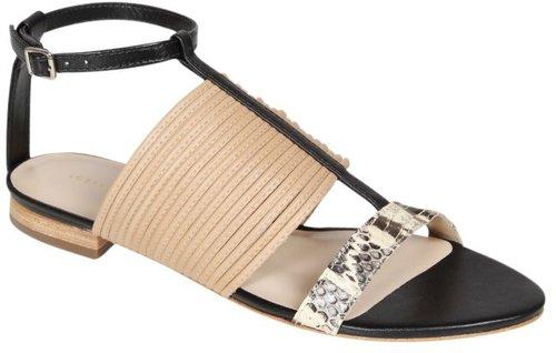 Clemence Snake T-Strap Sandal in Black/Snake