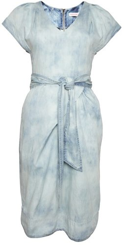 Dress with Fluted Sleeve in Blue