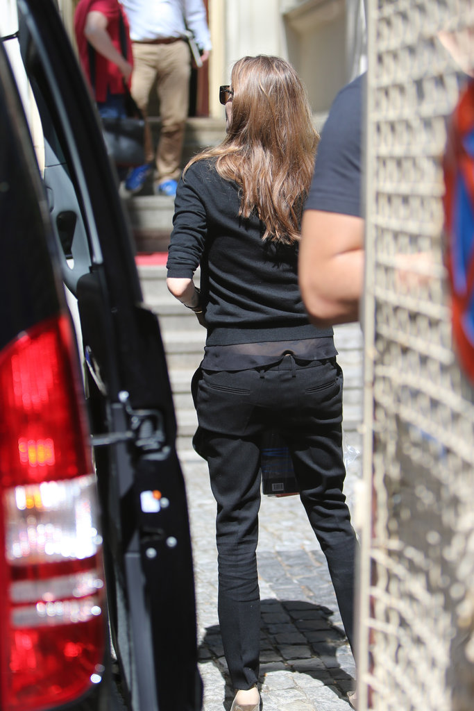 Angelina Jolie wore all black.