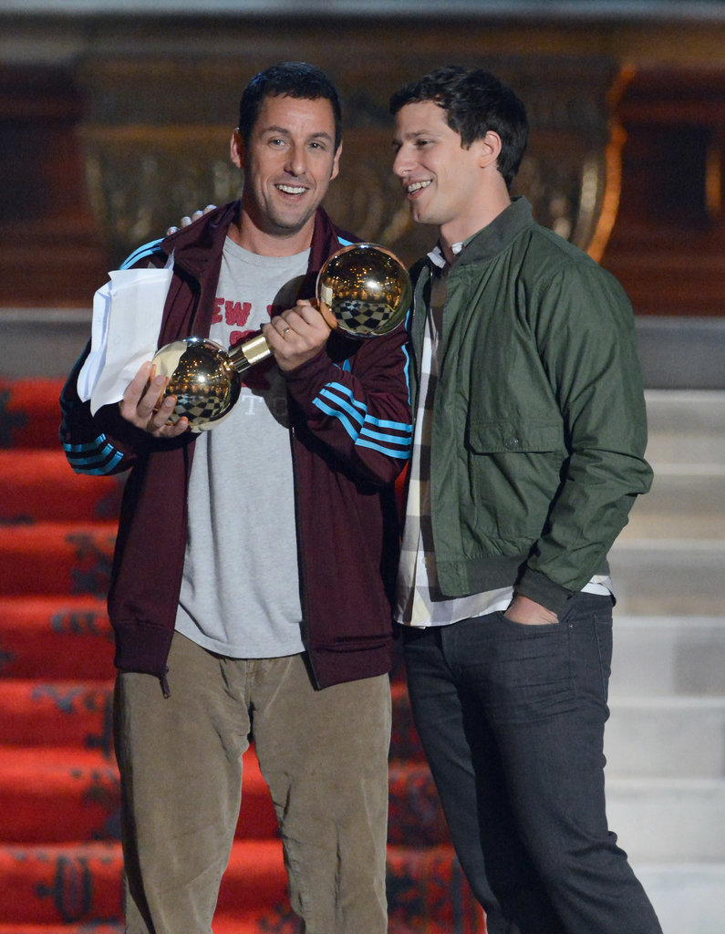Andy Samberg and Adam Sandler joked around on stage at the 2012 Guys Choice Awards.