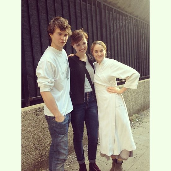 Ansel Elgort and Shailene Woodley took a photo with Divergent author Veronica Roth. Source: Instagram user anselelgort