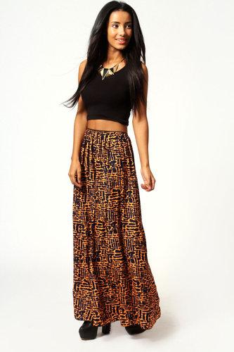 Kara Neon Print Crepe Maxi Skirt
