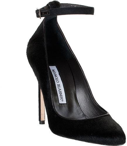 Manolo Blahnik Raret black fur pump