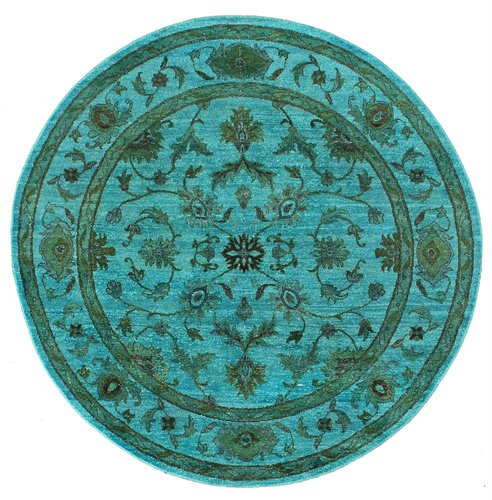 Rugsville Overdyed Turquoise Light Wool 12261 Rug | Rugsville.com