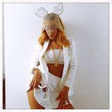 We're kind of loving Rihanna's all-white everything look (lace bunny ears included). Source: Instagram user badgalriri