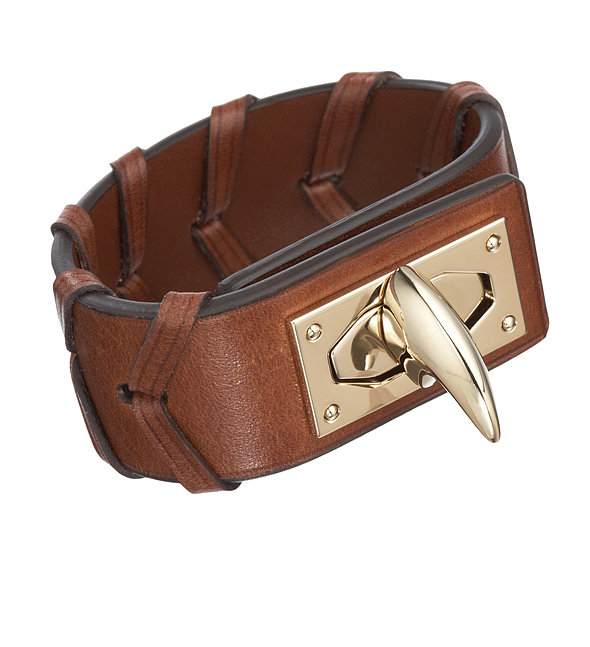 The Givenchy shark tooth is going down in fashion history. Now's your chance to get a piece with this wide leather cuff ($459, originally $760).