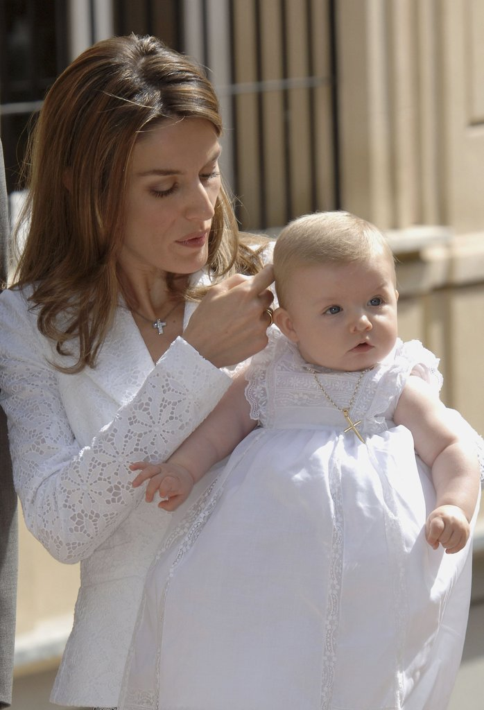 Princess Letizia of Spain presented Princess Leonor at her baptism in 2006.