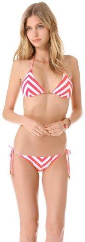 Pilyq Candy Stripe Triangle Bikini Top