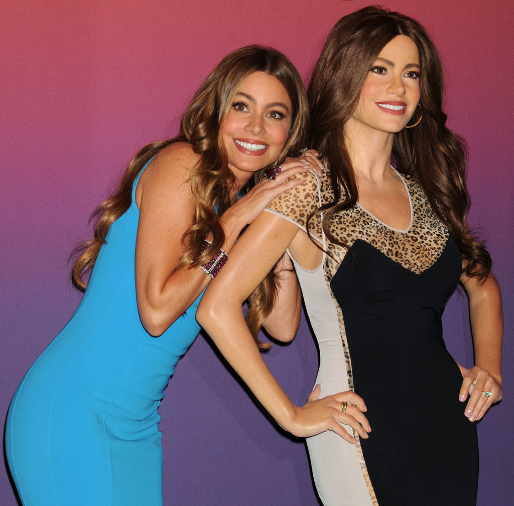 Sofia Vergara got playful with one of her wax figures on Wednesday in NYC.