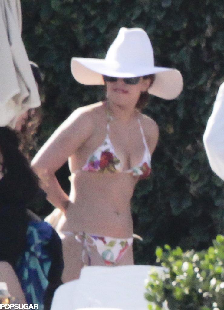 Lady Gaga chose a floral bikini.
