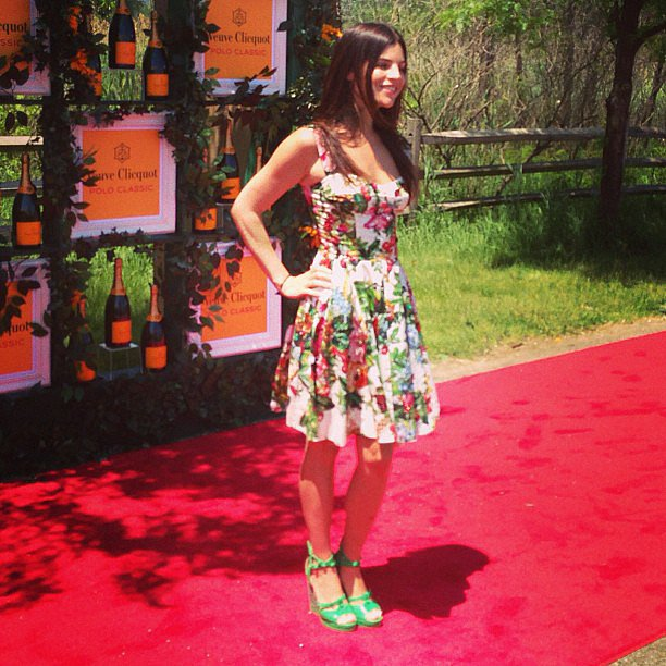 Julia Restoin Roitfeld walked the Polo Classic red carpet in a fully floral ensemble.
