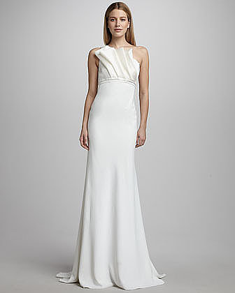 We love that this Carmen Marc Valvo's pleated bust gown ($850) is simple on bottom so that the top half can really shine.