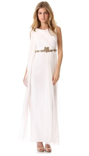 Marchesa's embroidered chiffon gown ($995) will give you that gorgeous Greek goddess vibe. Just add shiny gold sandals to match.