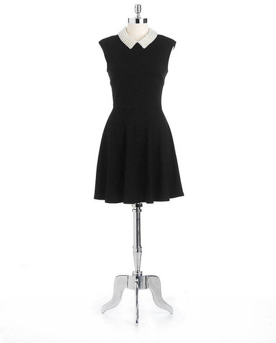 BETSEY JOHNSON Jacquard Fit-And Flare Dress With Pearl Collar