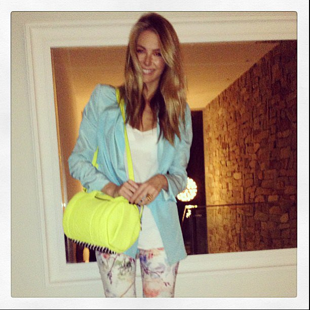 Jennifer Hawkins wore a very colourful outfit on one of her last few days as a single woman. Source: Instagram user jenhawkins_