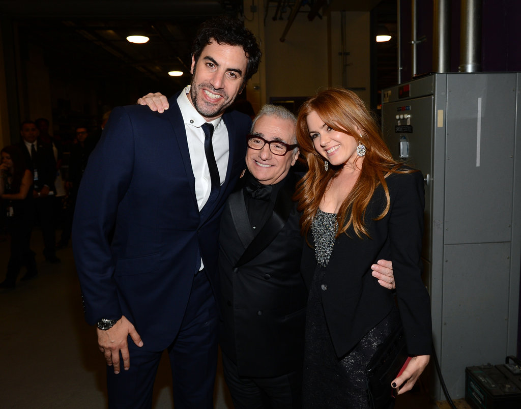 Isla Fisher and Sacha Baron Cohen mingled with Martin Scorsese.