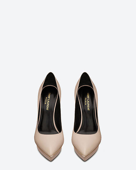 Janis pump with gold-toned trim and powder calfskin leather ($825).