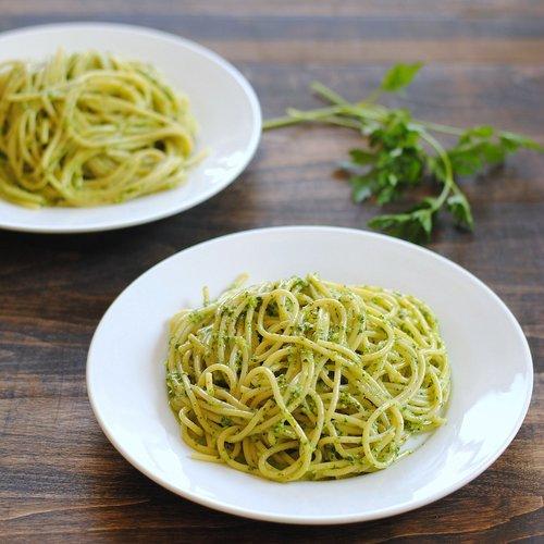 Pasta with Herb-Almond Pesto