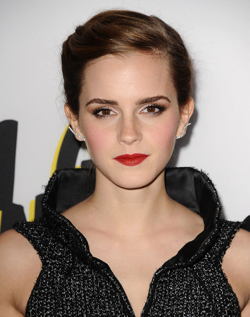 At the LA premiere of her latest film, The Bling Ring, Emma Watson went for a sleek updo and red lips.