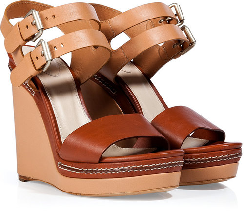 Chloé Nude/Chestnut Leather Wedge Sandals