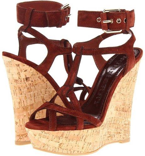 Burberry - Suede Platform Wedge Sandal (Khaki) - Footwear
