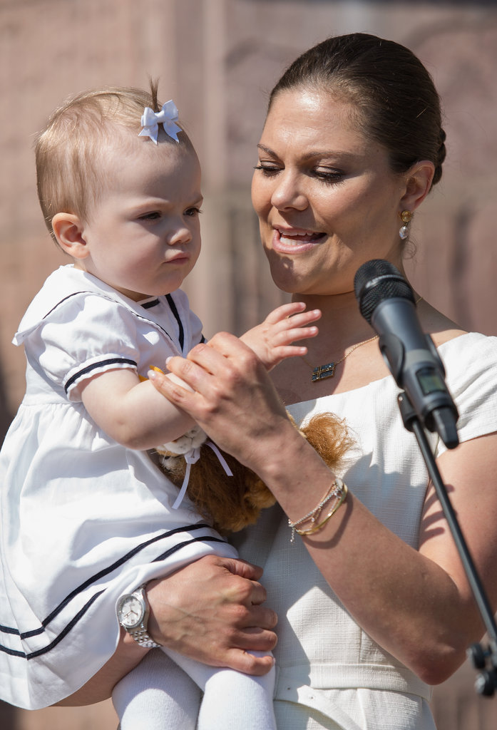 Princess Victoria kept baby Estelle from playing with the mic.