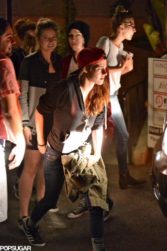 Kristen Stewart left En Sushi with a group of friends.
