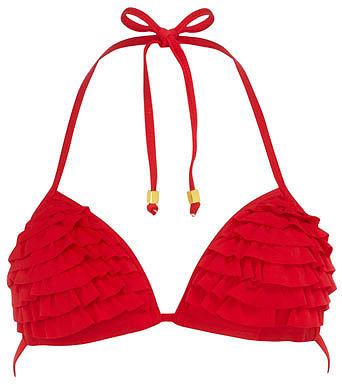 Red ruffle moulded cup bikini top