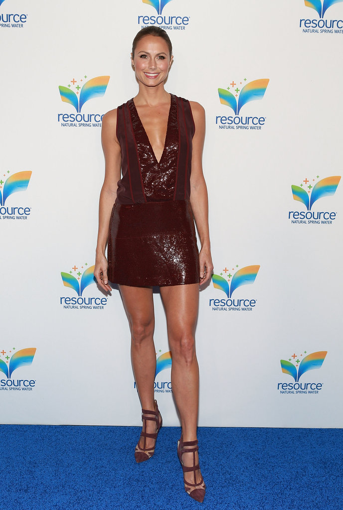 Stacy Keibler's sequined Diane von Furstenberg minidress found the perfect match in her cutout pumps.